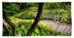 Garden Bench Hand Towel by Joe Mamer