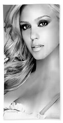 #1 Jessica Alba Hand Towel by Alan Armstrong