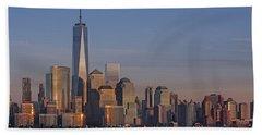Lower Manhattan Skyline Hand Towel by Susan Candelario