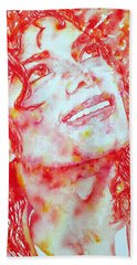 Michael Jackson - Watercolor Portrait.2 Hand Towel by Fabrizio Cassetta