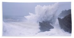 Waves Breaking On The Coast, Shore Hand Towel by Panoramic Images