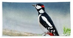 Woodpecker Hand Towel by Heike Hultsch