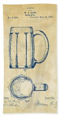 1876 Beer Mug Patent Artwork - Vintage Hand Towel by Nikki Marie Smith