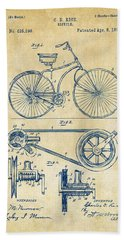 1890 Bicycle Patent Artwork - Vintage Hand Towel by Nikki Marie Smith