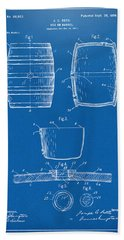 1898 Beer Keg Patent Artwork - Blueprint Hand Towel by Nikki Marie Smith