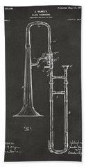 1902 Slide Trombone Patent Artwork - Gray Hand Towel by Nikki Marie Smith