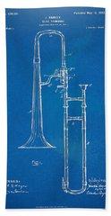 1902 Slide Trombone Patent Blueprint Hand Towel by Nikki Marie Smith