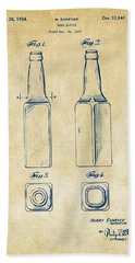 1934 Beer Bottle Patent Artwork - Vintage Hand Towel by Nikki Marie Smith