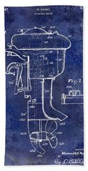 1947 Outboard Motor Patent Drawing Blue Hand Towel by Jon Neidert