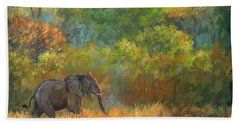 African Elephant Hand Towel by David Stribbling