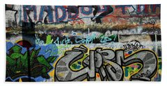 Artistic Graffiti On The U2 Wall Hand Towel by Panoramic Images