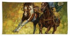Rodeo Pickup Hand Towel by Don  Langeneckert