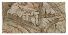 Drawing Of An Imaginary Prison Hand Towel by Giovanni Battista Piranesi