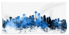 Seattle Washington Skyline Hand Towel by Michael Tompsett