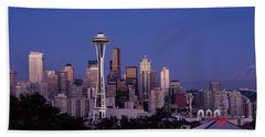 Skyscrapers In A City, Seattle Hand Towel by Panoramic Images