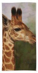Giraffe Hand Towel by David Stribbling
