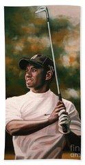 Tiger Woods  Hand Towel by Paul Meijering