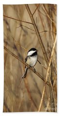 Black-capped Chickadee Hand Towel by Linda Freshwaters Arndt