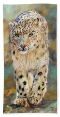 Snow Leopard Hand Towel by David Stribbling