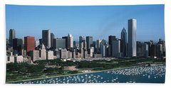 Aerial View Of Buildings In A City Hand Towel by Panoramic Images