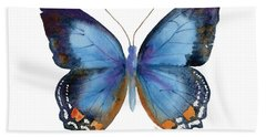 80 Imperial Blue Butterfly Hand Towel by Amy Kirkpatrick