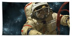 A Cosmonaut Against A Background Hand Towel by Marc Ward