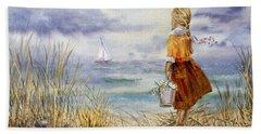 A Girl And The Ocean Hand Towel by Irina Sztukowski