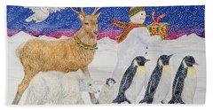 A Present For Santa  Hand Towel by Catherine Bradbury