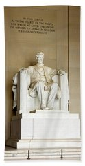 Abraham Lincolns Statue In A Memorial Hand Towel by Panoramic Images