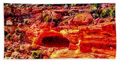 Cave In Canyon Dechelly National Park - Sunset Hand Towel by Bob and Nadine Johnston