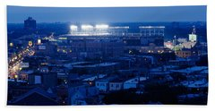 Aerial View Of A City, Wrigley Field Hand Towel by Panoramic Images