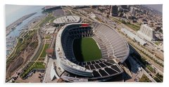 Aerial View Of A Stadium, Soldier Hand Towel by Panoramic Images