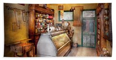 Americana - Store - At The Local Grocers Hand Towel by Mike Savad