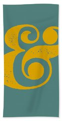 Ampersand Poster Blue And Yellow Hand Towel by Naxart Studio