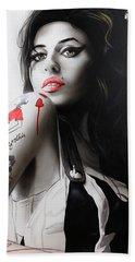Amy Winehouse - ' Amy ' Hand Towel by Christian Chapman Art