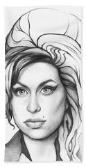 Amy Winehouse Hand Towel by Olga Shvartsur