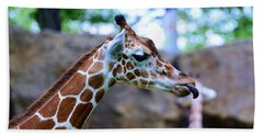 Animal - Giraffe - Sticking Out The Tounge Hand Towel by Paul Ward