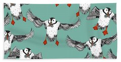 Atlantic Puffins Mint Hand Towel by Sharon Turner