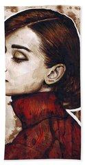 Audrey Hepburn Hand Towel by Olga Shvartsur