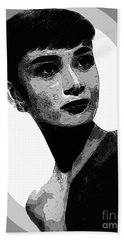 Audrey Hepburn - Pencil Hand Towel by Doc Braham