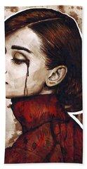 Audrey Hepburn Portrait Hand Towel by Olga Shvartsur