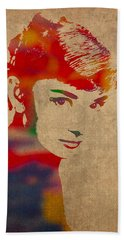 Audrey Hepburn Watercolor Portrait On Worn Distressed Canvas Hand Towel by Design Turnpike