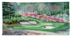 Augusta National 12th Hole Hand Towel by Deborah Ronglien