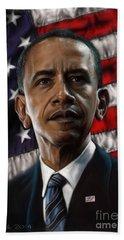 Barack Obama Hand Towel by Andre Koekemoer