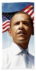 Barack Obama Artwork 1 Hand Towel by Sheraz A