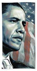 Barack Obama Artwork 2 B Hand Towel by Sheraz A