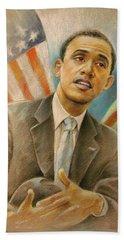 Barack Obama Taking It Easy Hand Towel by Miki De Goodaboom