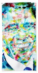 Barack Obama - Watercolor Portrait Hand Towel by Fabrizio Cassetta