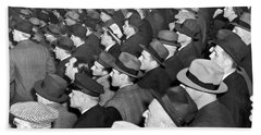 Baseball Fans At Yankee Stadium For The Third Game Of The World Hand Towel by Underwood Archives