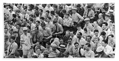 Baseball Fans In The Bleachers At Yankee Stadium. Hand Towel by Underwood Archives